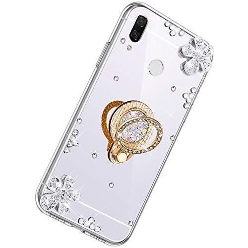 Herbests Kompatibel mit Xiaomi Redmi 7 Glänzend Diamant Kristall Strass Glitzer Spiegel TPU Handyhülle Handytasche Silikon Schutzhülle TPU Bumper Case mit Handy Fingerhalterung,Silber
