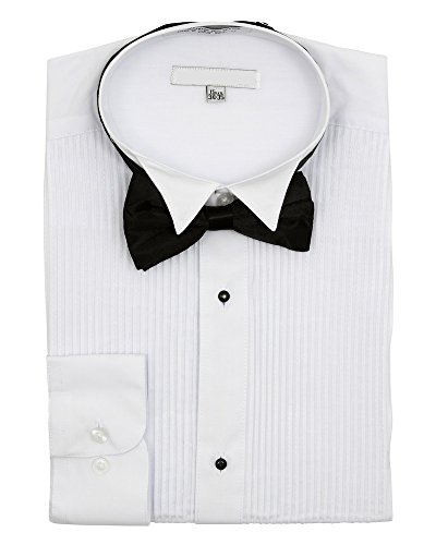 Men's Wingtip Collar Pleated Tuxedo Shirt Bow Tie - White 19.5 36-37 (Bow Tuxedo White Tie)