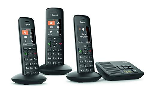 Gigaset C570A Trio Schnurlostelefon mit Anrufbeantworter (3 Mobilteile mit Farbdisplay und großen Tasten, Design Telefon, Freisprechen, Baby Phone, Analog Telefon) schwarz