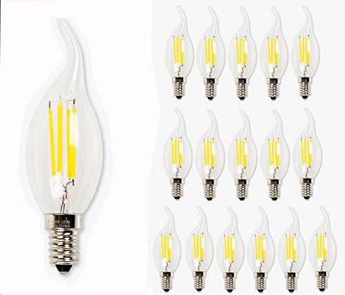 Filament LED Leuchtmittel 16 Stück E14 4 Watt 2700k warmweiß Kerze Form A+ (16)