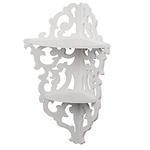 White Filigree Style Shelf, Shabby Chic Cut Out Design, Decorative Wall Shelves are Great for Candle Holders and Small Vases, Corner
