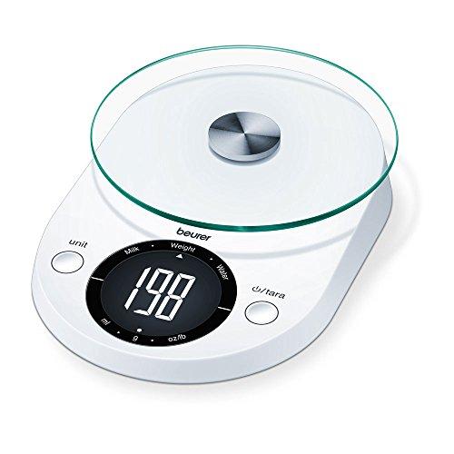 La compacta balanza de cocina KS 33 de Beurer posee un diseño elegante y moderno, una pantalla LCD de fácil lectura y se entrega con un cuenco para pesar de 1,2 litros. La balanza tiene una capacidad máxima de pesaje de 5 kilogramos y es precisa hast...