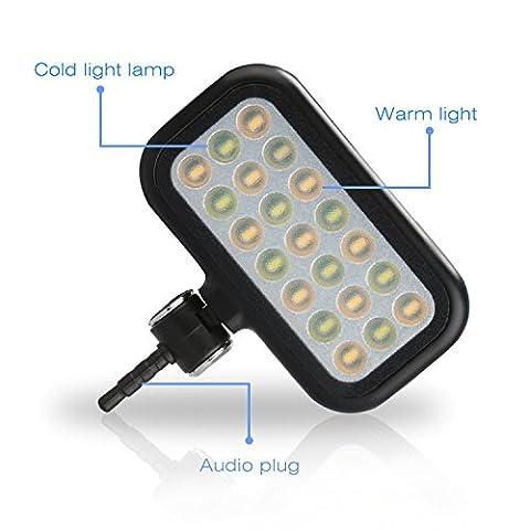 BlueBeach® Mini Selfie LED Flash de Lumière Photo Vidéo Lampe pour Smartphones (Noir)