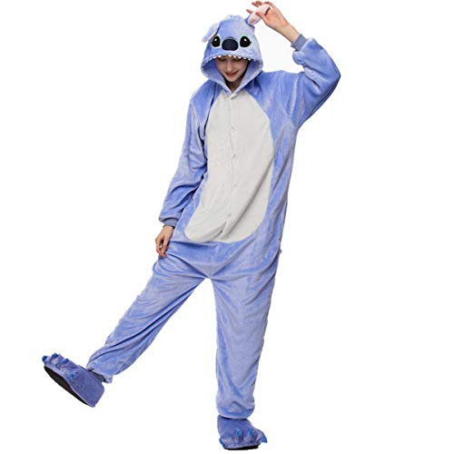 Stich Herren Kostüm - Fancyland Stitch Kostüm,Jumpsuit Tier Cartoon Fasching Halloween Kostüm-Anzug Onesie Fleece-Overall Pyjama