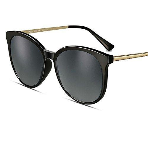 MinegRong Sonnenbrille-weibliches 2018 rundes Gesicht polarisierte Sonnenbrille-Sonnenbrille-Sonnenbrille-Frauen, progressiver Grauer Film des schwarzen Rahmens