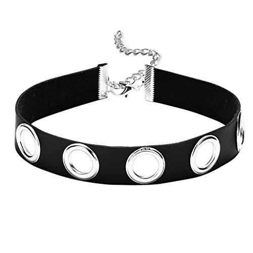 Epinki Damen Choker, Halskette Leder Breit O-Ring Form Anhänger Tattoo Samtkropfband Gothic Halsband 32.2+7CM Silber Schwarz