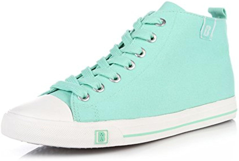 Caída de lona zapatos de las mujeres/Fresca pura respirable Hi el zapato/Zapatos del estudiante transpirable color...