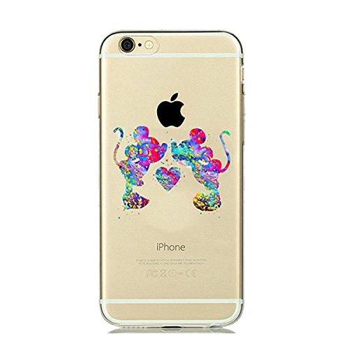 Disney Mickey Maus Minnie Maus Love Schutzhülle Appel Iphone Serie TPU transparent Silikon Case Appel Iphone 7/8 Comic Cartoon Hülle -AcAccessoires #0018 (Iphone 7/8)