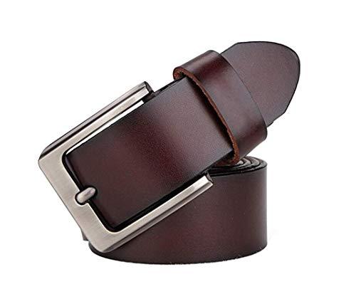 CAILIN Leather Cinturón de Piel Formal para Hombre, Estilo clásico, Estilo Informal, Correa de Piel auténtica para Pantalones Vaqueros, tamaño Grande y Alto, 2XL-9XL marrón marrón 145 cm
