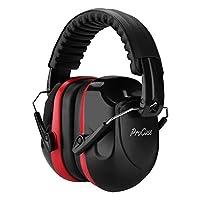 ProCase Orejera para Ruido, Protector Auditivo SNR 34 dB Cancelación de Ruido Profesional, Casco Protector de Oído para Campo de Disparo y Temporada de Caza -Negro/Rojo