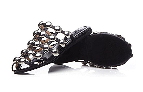 GLTER Femmes Sandales plates Slip-On pantoufles Femmes Summer Pump Chaussures Hollow Flat Ronde Métal Rivets Semi-Drag Sandales plates en cuir Sandals Beach Pool Chaussures Blanc Noir Black
