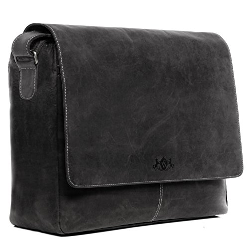 SID & VAIN® Messenger Bag SPENCER echtes Büffelleder XXL Umhängetasche schwarz Herren Schultertasche groß Laptoptasche 15 Zoll Arbeitstasche Aktentasche herausnehmbare Schutzhülle