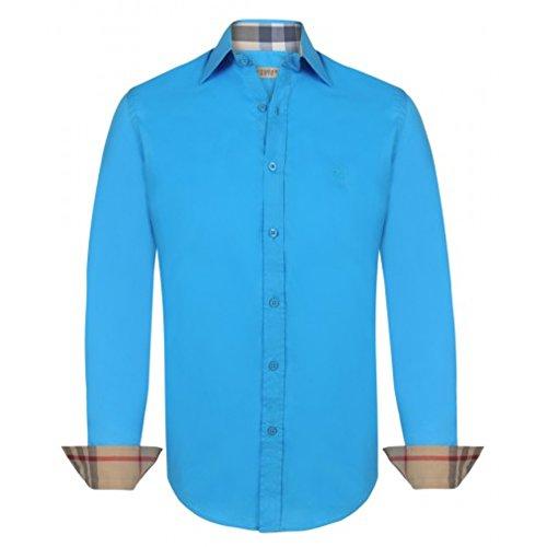 Burberry camicia uomo manica lunga colore tourqoise (s)