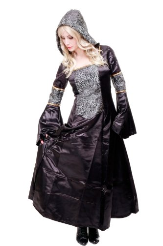 Kostüm Damen Damenkostüm aufwändiges Kleid mit Haube Mittelalter Romantik Elfe Gotik Gothic Burgfräulein L068 Gr. 46 / L - 5