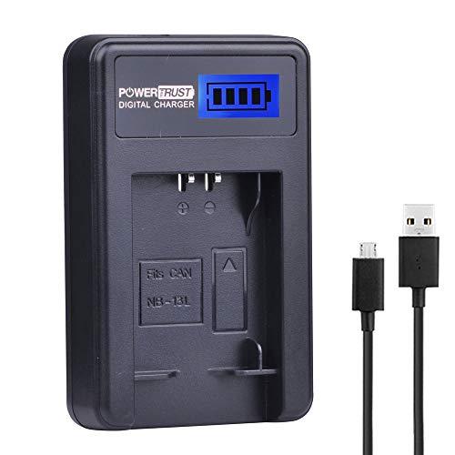 PowerTrust LCD USB Ladegerät für Canon NB-13L PowerShot G5X G7X G9X G7 X Mark II G9 X SX620 SX720 SX730 HS Akku -