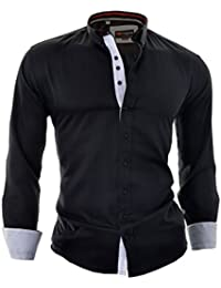 D&R Fashion Mens Smart Shirt with Classic Collar Decorative Fastening Finishing and Elegant Cut