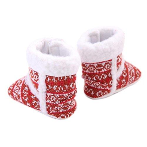 Clode® Gardez Chaud Enfant Toddler Soft Sole Bottes de neige Baby Girl Crèche Chaussures (6 ~ 12 Mois, Rouge) Rouge