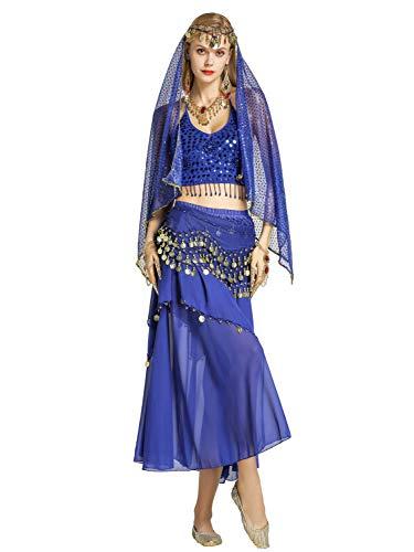 Saphir Kostüm Bauchtänzerin - Zengbang Damen Bauchtanz Performance Kostüm Ärmellos Leibchen Top Maxirock Halloween Tanz Kostüm Saphir(2PC)