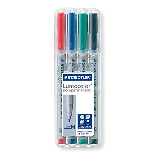 Staedtler Lumocolor 315 WP4 Folienstift, non-permanent, wasserlöslich, M-Spitze Linienbreite ca. 1.0 mm, hohe Qualität, Set mit 4 Farben