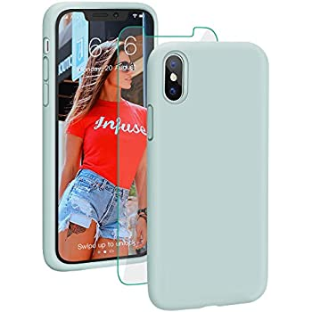 1b75f7ad0f ProBien Case for iPhone X/iPhone XS, Liquid Silicone Full Protective Cover  with Free Tempered Screen Protector Shockproof Shell for New 2018 iPhone X/ iPhone ...