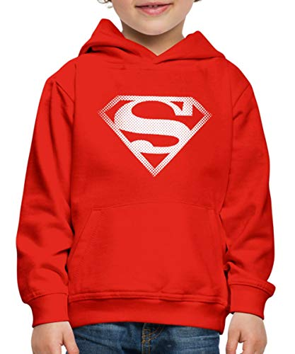Spreadshirt DC Comics Originals Superman Retro Symbol Kinder Premium Hoodie, 122/128 (7-8 Jahre), Rot