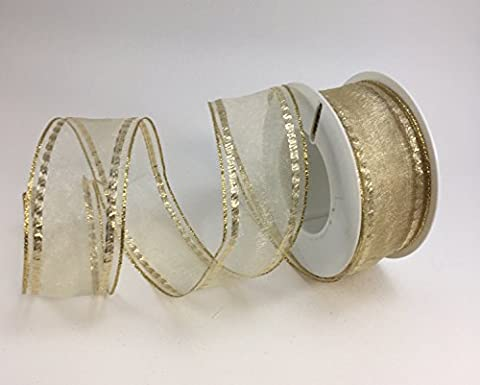 Wired luxury Cream organza ribbon with gold detail 40mm x 1m cut (Wired Nastro Del Organza)