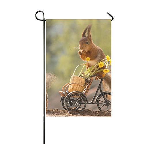 Dekorative Outdoor Double Sided Eichhörnchen stehend auf Fahrrad Blumen Garten Flagge, Haus Hof Flagge, Garten Hof Dekorationen, saisonale Willkommen Outdoor Flagge 12 X 18 Zoll Frühling Sommer Gesch