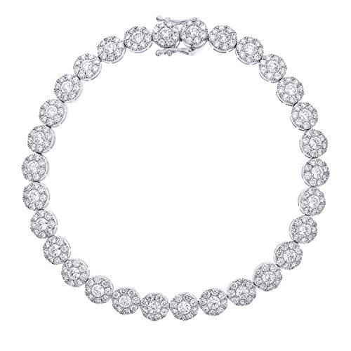 Naava 18 Karat Weiß Gold Spektakuläre Halo Set Diamant zertifiziert G/SI1rund Tennis Armband