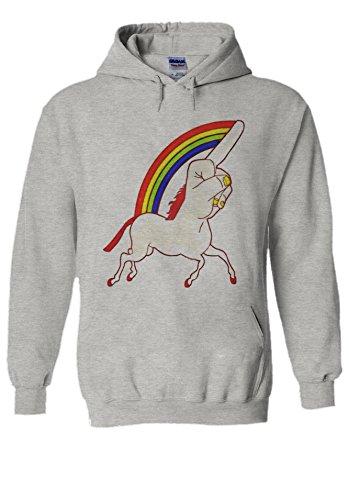 Perky Fashion Unicorn Middle Finger Funny Novelty Sports Grey Men Women Damen Herren Unisex Hoodie Kapuzenpullover L