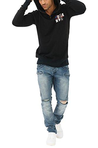 trueprodigy Casual Herren Marken Sweatshirt mit Aufdruck, Oberteil cool und stylisch mit Kapuze (Langarm & Slim Fit), Hoodie für Männer in Farbe: Schwarz 2582103-2999 Black