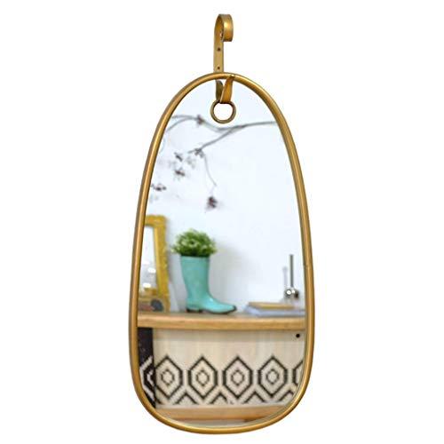 XHCP 39.5x86.5cm - Ovaler Spiegel mit Aufhängehaken, Metallgerahmter dekorativer Wandspiegel für Schlafzimmer, Wohnzimmer, Bauernhaus, Wandhalterung angeboten, Gold -