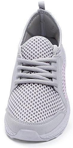 QANSI Chaussures de Running Course Empeigne en mesh respirante et légère pour femme Gris