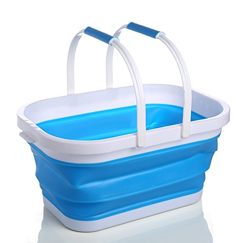 MAyouth Warenkorb Kunststoff, 10L Silikon Retractable Falteimer Einkauf Storage Basket Küche, Gemüse, Obst Tote mit Griffen -