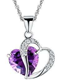 Silver Crystal Diamond Accent Heart Shape Pendant Chain Necklace Made with Swarovski Crystal,with a Gift Box, Model: X12528