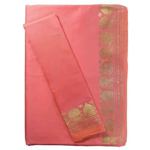 (indischerbasar.de Sari lachs Goldbrokat traditionelle Bekleidung Indien Tracht Blusenstoff Wickelanleitung Bindikärtchen)