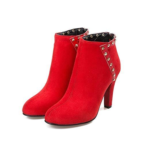 andalen Winterstiefel Neue Runde Kappe Schnalle Stiefel Frauen Knöchelhohe Absätze Mode Herbst Winter Schuhe Frau Casual Zip 622-2 10 Rot ()