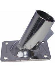 Embase / Platine Rectangulaire 22mm Droite 60° inox 316