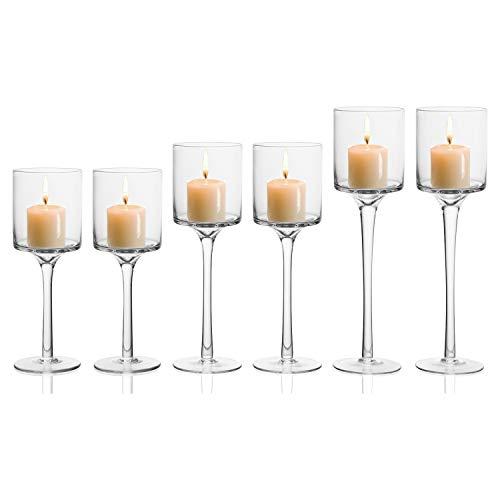 ck) - 3 Verschiedene Größen L-26cm, M-23cm, S-20cm Hoch - Glas Kerzenständer für Stabkerzen, Stumpenkerzen, Votivkerzen und Teelichter - Teelichthalter für Hochzeit, Tischdekoration ()