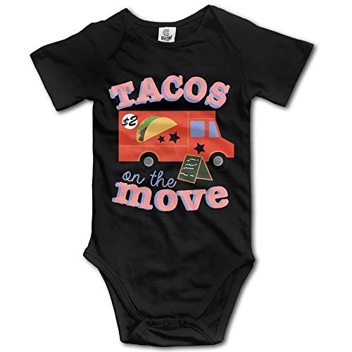 Tacos On The Move Newborn Short Sleeve Jumpsuit Outfits Black