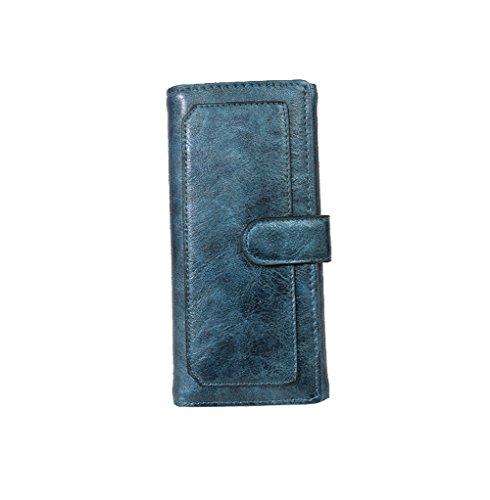 H&W Donna Tri-fold PU Pelle Frizione Portafogli Borsa Oro Blu
