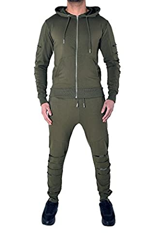 Mens Designer Tracksuit Fleece Skinny Slim Joggers Pants Bottoms & Zipper Hooded Jacket Hoody Sweat Top Cotton & Pique 4 Styles 7 Colours (Small, Boycott