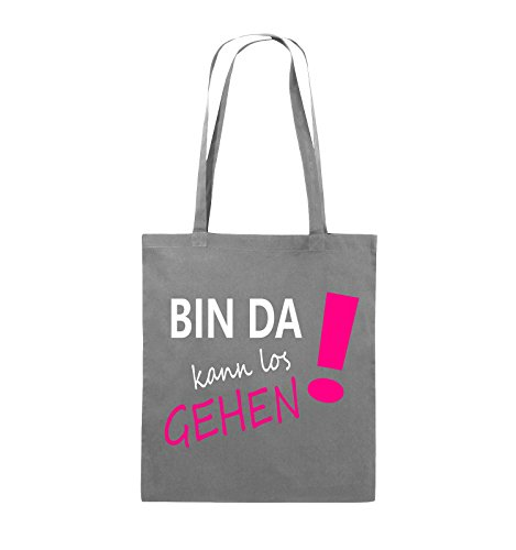 Comedy Bags - Bin da kann los gehen! - Jutebeutel - lange Henkel - 38x42cm - Farbe: Weiss / Schwarz-Rot Dunkelgrau / Weiss-Pink