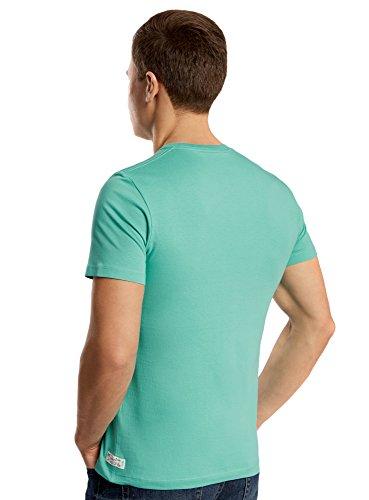 oodji Ultra Herren T-Shirt mit Strand-Druck Grün (6510P) ...