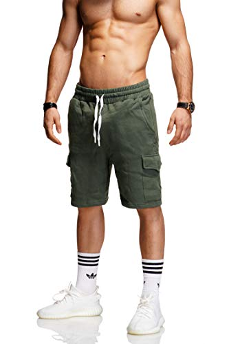 behype. Herren Sweat-Shorts Kurze Hose Sport-Hose Jogging-Hose Trainings-Hose Freizeit Side-Stripe 60-8110 (M, Khaki (1802)) - Grüne Dicke Streifen