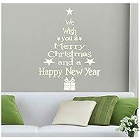 LETTER Navidad Pegatinas la Decoración del Hogar de Vinilo Ventana Pegatinas de Navidad Navidad Decoración la Pared Navidad Santa Claus árbol de Navidad (Blanco)