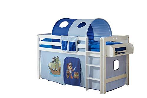 Jugendmöbel24.de Hochbett Joy inkl Vorhang Buche massiv Natur TUEV EN 747-1 + 747-2 Kinderbett Spielbett Massivbett Kinderzimmer Bett Holzbett Bettgestell