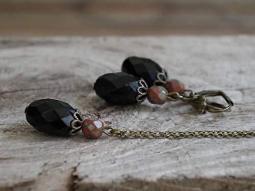 Vintage Schmuckset mit OLIVEN Glasperlen - schwarz opak, rost braun rot & bronze -