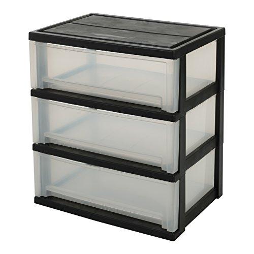 IRIS, Rollwagen / Rollcontainer / Schubladenbox 'Smart Wide Chest', SWC-503P, 3 Schubladen, für Werkzeuge, Plastik, schwarz, 54 x 39 x 60 cm (Rollen Iris)