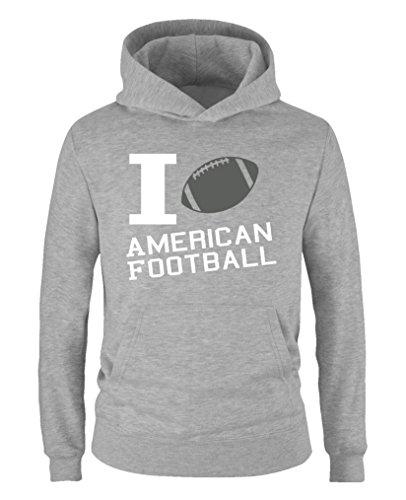 Comedy Shirts - I Love American Football - Jungen Hoodie - Grau/Weiss-Grau Gr. 98/104 -