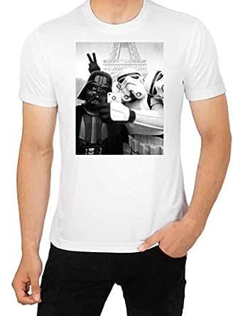 Parodie SELFIE Star Wars Darth Vader vs T-Shirt Motif Stormtrooper top Men's T-Shirt de qualité supérieure -  Blanc - Large